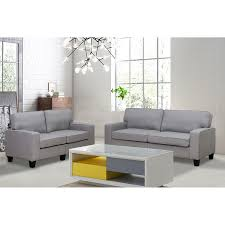100 Modern Living Room Couches Emelia 2Piece Gray Linen Sofa And Loveseat Set
