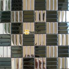 brick pattern black mixed silver color stainless steel mosaic