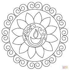 Diwali Coloring Pages Rangoli Page Free Printable For Kid