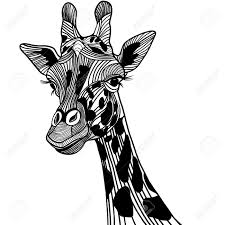 Giraffe Head Vector Animal Illustration For T Shirt Sketch Tattoo Design Stock
