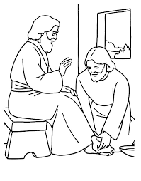 Kindness Jesus Washing Feet Colouring Page Coloring