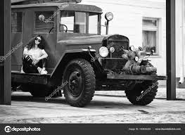 Vintage Firefighting Truck And Pretty Teenager. Outdoor Portrait Of ...