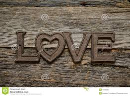 Word Love On Rustic Wood
