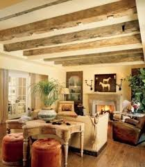 Rustic Style Living Room With Exposed Beams