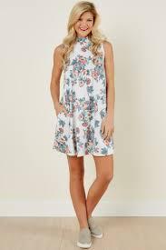 girly white dress floral print dress mock neck dress 38 00