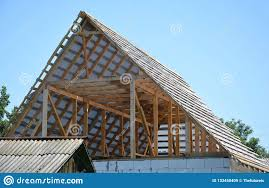 100 House Trusses Building Attic Roof Construction With Wooden Beams