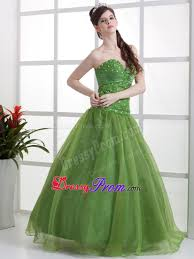 organza olive green sweetheart prom dresses for princess