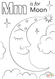 Moon Coloring Page Letter M Is For Free Printable Pages Sheets