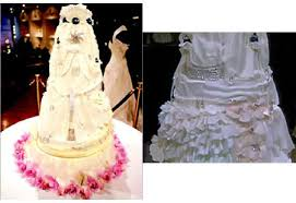Unfortunately Mimi So did not expose the total diamond she attached on the creamy wedding cake