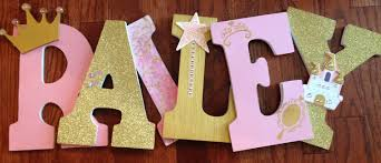 Princess themed letters Pink and gold letters Letters for