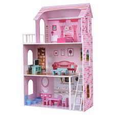 Diy Dollhouse Miniature Doll House Furniture Kit Led Kids Cat