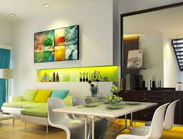 Awesome Apartment Art Ideas Colorful Abstract Tree Wall Decoration In Modern Living Room