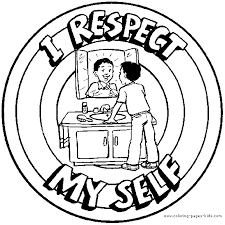 I Respect Myself Color Page Morale Lesson Education School Coloring Pages