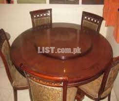 Wooden Dining Table With Centre Revolving