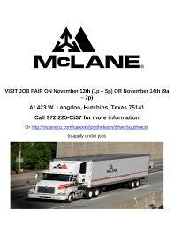 100 Mclane Trucking Flyerboard Drivers Job Fair 3000 SIGN ON BONUS Dallas