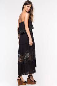 memdalet temperley strapless ruffle crochet lace maxi dress