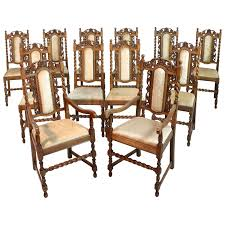 Set Of 12 Antique Jacobean Revival Carved Oak Barley-Twist ... Marvellous High Ding Chairs Set Of 4 Astonishing Fniture Barley Twist Table Images Round Room Tables 1940s Vintage Or Kitchen Of Antique Edwardian Oak Draw Leaf Carved Pair Wood Throne Amazing Detail 1850 Twist Ding Room Table And 6 Chairs Renaissance At English Jacobean Chair Amazoncom Rustic Gate Leg For Its The Perfect Entertaing Family Friends