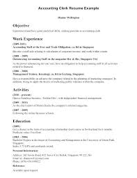 Accounts Clerk Resume Template Sample Accounting Objective Rh Letsdeliver Co Sr Staff Accountant