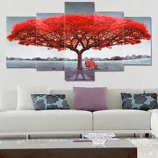 Unframed Red Tree Canvas Adornment Picture Modern Living Room Home Wall Decor Art Painting Picture NO Frame