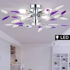etc shop deckenleuchte led 12 watt decken leuchte chrom beleuchtung lila blätter chrom wohnzimmer satiniert kaufen otto