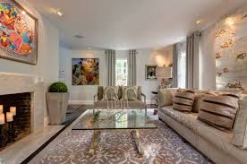 interior design beige leather sofa and gold coffee table in