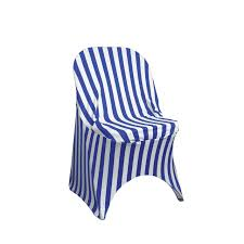 Stretch Spandex Folding Chair Covers Striped Royal Blue/White