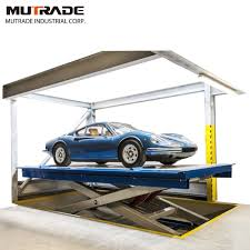100 Car Elevator Garage Hot Item Scissor Double Cylinder Two Hydraulic