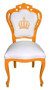 pompöös by casa padrino luxus barock esszimmerstuhl orange weiss pompööser barock stuhl designed by harald glööckler