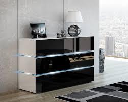 kommode shine sideboard 90 cm schwarz hochglanz weiß led beleuchtung modern design tv möbel anrichte sigma kopie