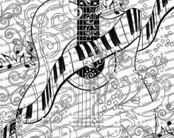 Adult Coloring Page Printable Guitar Poster Piano By Juleez