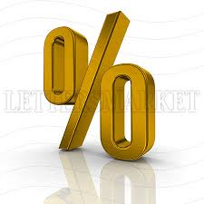 LettersMarket 3D gold Symbol Percent isolated on a white