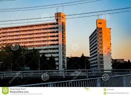 100 Apartments In Yokohama Sunset On The Apartments Stock Photo Image Of Natural