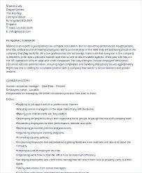 Human Resources Director Resume Sample Hr Manager Examples In Word