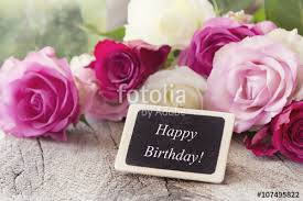 Happy Birthday Gratulation card birthday greetings with white and pink roses romantic style