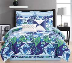 8 Piece Paisley Blue Green White forter Set