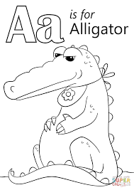 Letter A Coloring Pages Is For Alligator Page Free Printable Line Drawings