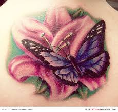 Lovely Floral Butterfly Tattoo