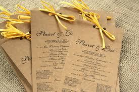 Rustic Cardstock Long Wedding Program Recycled Paper Elegant Modern
