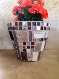 Mosaic Flower Pot Large Indoor Planter Outdoor Patio Glass Stone Rustic Kitchen Herb Handmade Garden Container