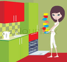 Girl Puts Cups In The Dishwasher Stock Vector Colourbox Rh Com Load Clip Art PowerPoint