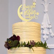 Romantic Anniversary Engagement Rustic Wedding Cake Topper Love You To The Moon And