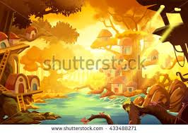 Tree House In Forest Under Gold Ray Of Sun Video Game Digital CG Artwork