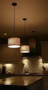 mini kitchen pendant lights white ceramic tile backsplash