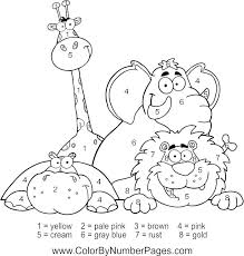 Zoo Animals Coloring Pages Pdf Color By Number Page For Boys
