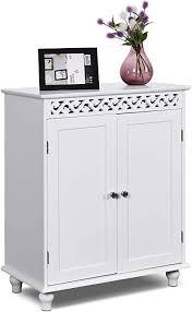 costway badezimmerschrank freistehend badschrank aus holz badkommode küchenschrank beistellschrank sideboard kommode für badezimmer