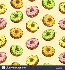 Hand drawn donut seamless pattern Pastry illustration Vector bakery background design