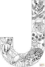 Coloring Download The Letter J Pages With Animals Page Free Printable
