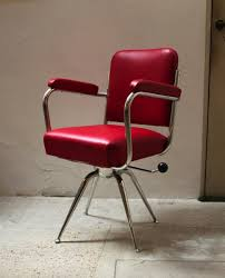 Chrome and Red Leather Desk Chair 1930s for sale at Pamono