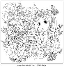Cute Girl And Unicorn In Roses Garden Outline Drawing Coloring Page Book For
