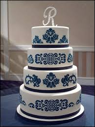 Navy blue and white wedding cake